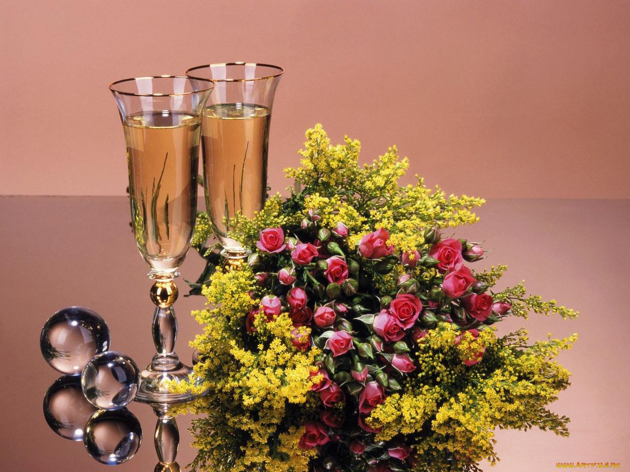 Открытки с цветами и вино, открытки