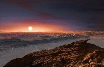 обоя космос, арт, пространство, планета, поверхность, звёзды, небо, грунт, горы