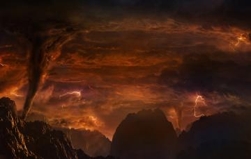 обоя venus, космос, венера, тучи, грунт, поверхность, планета, вулканы, молнии