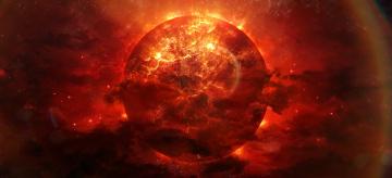 Картинка космос арт alienphysique katherl hannes планета разломы трещины огонь взрыв энергия туманность красная