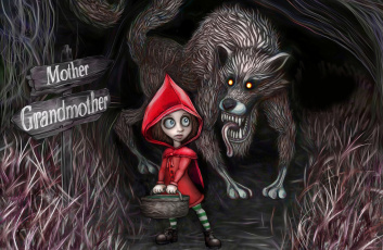 Картинка фэнтези красавицы чудовища красная шапочка корзина волк