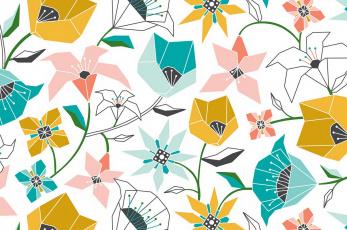 обоя векторная графика, цветы , flowers, текстура, цвет, фон