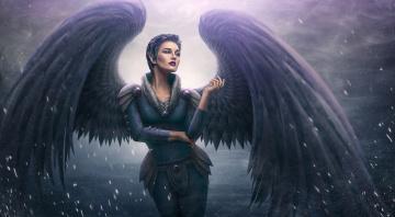 обоя фэнтези, ангелы, девушка, демон, крылья, арт, фон