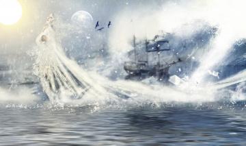 обоя фэнтези, фотоарт, море, корабль, фон, девушка
