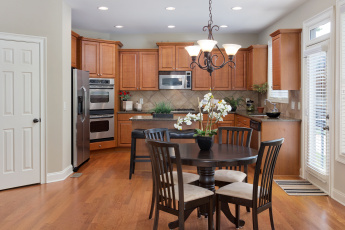 Картинка интерьер кухня стол цветок орхидея стиль дизайн
