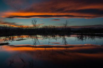Картинка природа восходы закаты отражение вода вечер закат