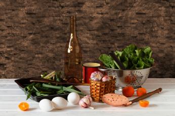 Картинка еда натюрморт чеснок лук салат зелень яйца