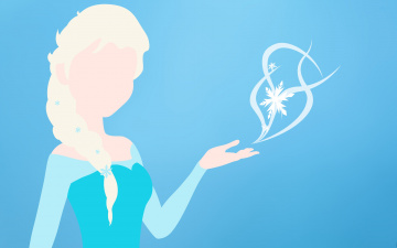 Картинка векторная+графика девушки снежинка силуэт синий