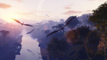 Картинка фэнтези драконы крылья динозавры птеродактили
