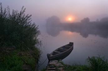 Картинка корабли лодки +шлюпки жмак евгений лето лодка туман утро рассвет угра