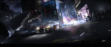 Картинка рисованное города автомобиль город арт mivit ночь