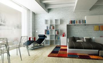 Картинка 3д+графика реализм+ realism стулья книги шезлонг спальня диван полки подушки