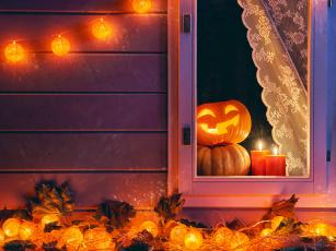 Картинка праздничные хэллоуин pumpkin осень ночь хеллоуин тыква halloween autumn candle окно holidays