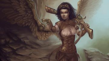 Картинка фэнтези ангелы girl ружье steampunk крылья пистолет