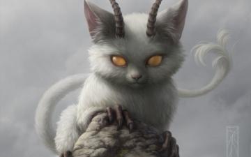 обоя фэнтези, существа, кошка, скала, зверек, демон, рога, камень