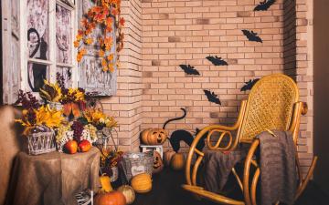 Картинка праздничные хэллоуин pumpkin корзина тыква кирпич interior autumn окно grapes holidays осень виноград кресло листья halloween стена