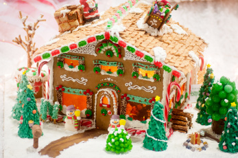 Картинка праздничные угощения пряничный домик