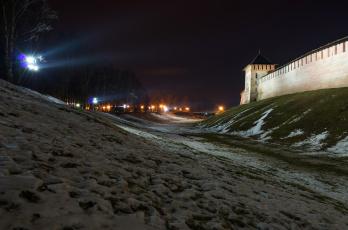Картинка новгород+великий города -+огни+ночного+города огни ночь крепость зима снег
