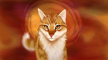 Картинка рисованное животные +коты фон взгляд кот