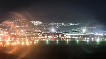 обоя авиация, авиационный пейзаж, креатив, самолет, ночь, огни