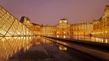обоя города, париж , франция, париж, огни, лувр, ночь